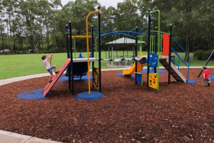 Playing at Cutrock Park playground, Ourimbah