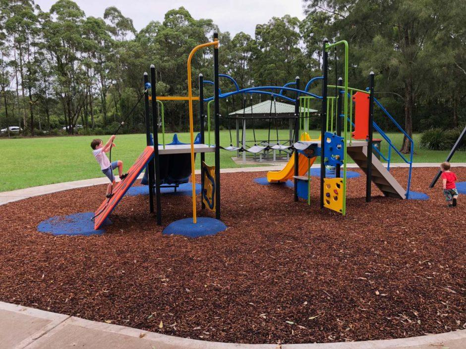 Playing at Cutrock Park playground, Ourimbah